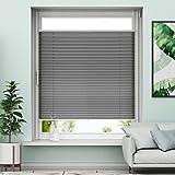 Plissee Klemmfix Rollo ohne Bohren - Anthrazit - 90x130cm (BH) - Jalousie Faltrollo Sichtschutz und Sonnenschutz für Fenstern & Türn