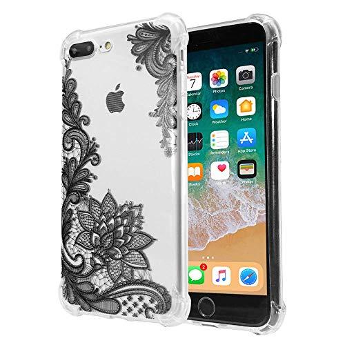 Mädchen-Schutzhülle für Apple iPhone 7 Plus und 8 Plus, transparent, schwarz