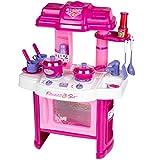 Buri Kinder Spielküche pink Küche Kochfeld Backofen Kochtopf Pfanne Geschirr Besteck