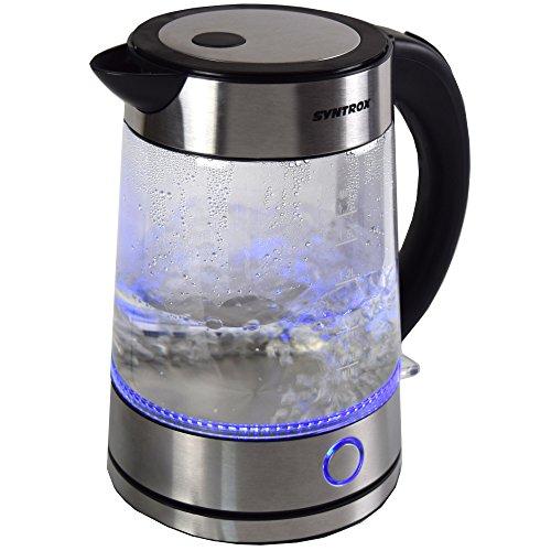 Syntrox Germany WK-2000W-1.7G Rio 2000 Watt 1,7 Liter Edelstahl schnurlos Glas Wasserkocher mit blauem LED Licht ° cordess Wasserkessel Teekessel