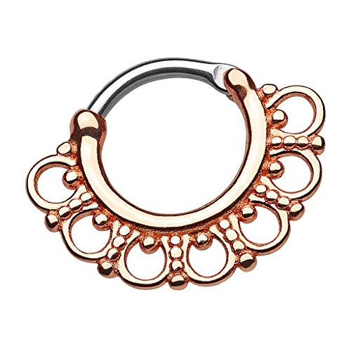 Piersando Piercing Ring für Septum Tragus Helix Ohr Nase Lippe Brust Intim Nasenpiercing Ohrpiercing Vintage Tribal mit Ornament Fächer Rosegold Rose Gold 1,2mm