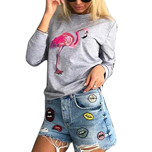Monika Casual Maglie a Manica Lunga Girocollo Maglietta Jumper Top Camicie Fenicottero Stampa Felpa Bluse Pullover Autunno Inverno Donna Grigio