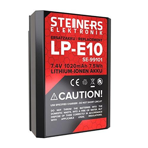 Akku für Canon EOS 1300D / 1200D / 1100D / LP-E10 / 1020 mAh / 7,4 V / 7,5WH von Steiners Elektronik
