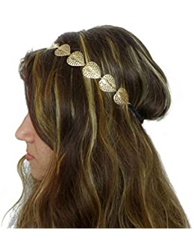 "TheStyleAssistant ""ALEXA"" Haarband Boho Schmuck mit Herz-Blätter Hippie Haarreif Kopfband Diadem Kopfschmuck Haarkette..."