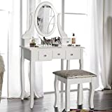 LIFE CARVER White Dressing Table With Chair and Five Drawers for Bedroom Oval Mirror Glamorous Make Up Table and Stool Set Wooden (simple)