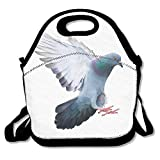 VTXWL Flying Pigeon Bird In Action Isolated On White Background Lunch Tote Lunch Bag School Reusable