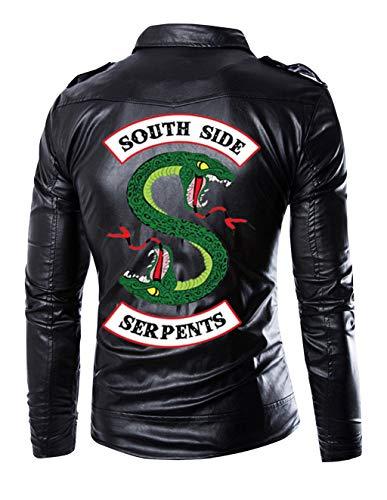 Riverdale Jacke Herren, Southside Serpents Männer Mode Lederjacke Jungen Coole Leder Jacket Kinder Hip Hop Jacken mit Reißverschluss Pullover Sweatshirt Pulli Oberteile Langarmshirts Shirts (1, L) - Für Kinder-jungen-leder Jacke