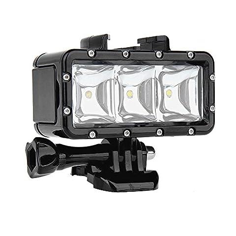 SHOOT Diving Light Lampe plongée imperméable haute puissance Dimmable LED lumière sous-marine pour Gopro Hero 5/4/3+/3/2/SJCAM SJ4000/SJ5000/Xiaomi Yi avec 1200mAh--Normal (HI) Economie d'énergie (BAS), Flash (SOS)