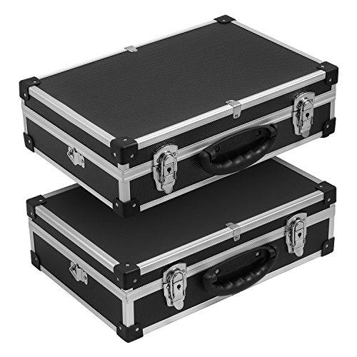 2x Alurahmenkoffer Werkzeugkiste schwarz inkl. Tragegurt + Schlüssel