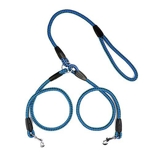 Ploopy Premium koppelleine für 2 hunde, hundeleine für 2 hunde, hochwertigem Nylon, belastbar und reißfest Lang 77 cm Blau