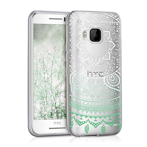 kwmobile Crystal Case Hülle für HTC One S9 aus TPU Silikon mit Indische Sonne Design - Schutzhülle Cover klar in Mintgrün Weiß Transparent