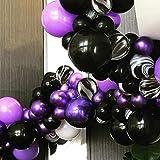 PuTwo Globos Negros y Púrpuras, 40 Piezas 12 Pulgadas Globos Púrpuras Globos Negros Globos de Mármol Negro, Globos para Fiesta Vampirina, Fiesta Hotel Transilvania, Boda Púrpura, Fiesta Púrpura