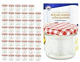 MamboCat 48er Set Sturzgläser 125 ml mit rot weiß kariertem Deckel To 66 inkl. Diamant Gelierzauber Rezeptheft Marmeladengläser Einmachgläser Einweckgläser