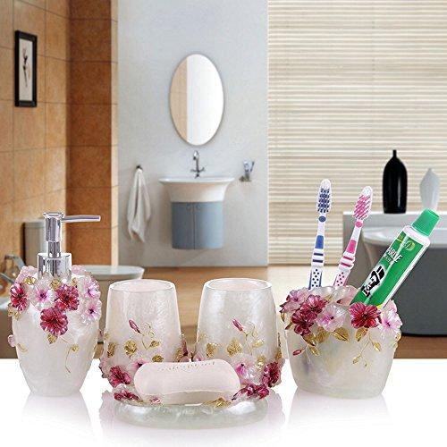 Haosen-six Kunstharz 5Stück Badezimmer Zubehör Set Ocean-Bunten Muscheln Seestern Design Ensemble, Bad Eitelkeiten, Home Decor White Set -