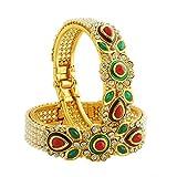 Luxor Green Brass Bangle Set For Women