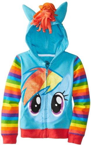 ow Dash Blau Mädchens Kostüm Hoodie Sweatshirt (Mädchens 5/6) (My Little Pony Rainbow Dash Kostüm)