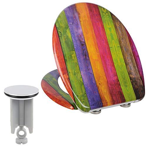 Toilettensitz mit Absenkautomatik, Schnellverschluss,aus Duroplast, WC Sitz Softclose Scharnier, Antibakteriell, Waschbeckenstöpsel Set
