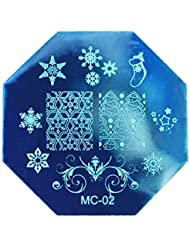 Nail Art Modele Plaque - TOOGOO(R)Noel Bricolage Image Timbre Plaques Stamping Manucure Modele Nail Art Plaque (MC-02)
