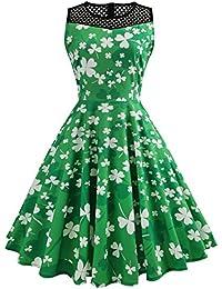 e2467fd11d3  St Patricks Kleid für Damen  Kleeblatt Kleid Ärmellos Rockabilly Swing  Kleid Festliche Partykleid St