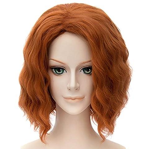 Art Und Weise Der Frauen Orange Kurze Perücken Flauschigen Lockig