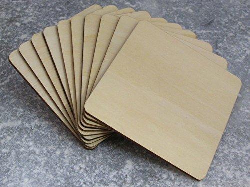 100 x Posavasos Formas Cuadradas de Madera, Grandes Lisos Cuadrados de Madera 10cm (100mm)