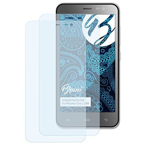 Bruni Schutzfolie kompatibel mit Phicomm Clue L 2015 Folie, glasklare Bildschirmschutzfolie (2X)