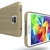 EAZY CASE GmbH Hülle für Samsung Galaxy S5 / S5 LTE+ / S5 Duos / S5 Neo Schutzhülle Silikon, gebürstet, Slimcover in Edelstahl Optik, Handyhülle, TPU Hülle / Soft Case, Backcover, Silikonhülle Brushed, Gold Vergleich