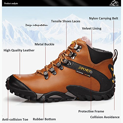 Trekking Gomnear Sport Banda Metà La Uomini Da Pelle Trekking Aperta All'aria Chiaro Stivali Entro Scarpe Marrone Camminano Pista Da Che In TgFYwvUq