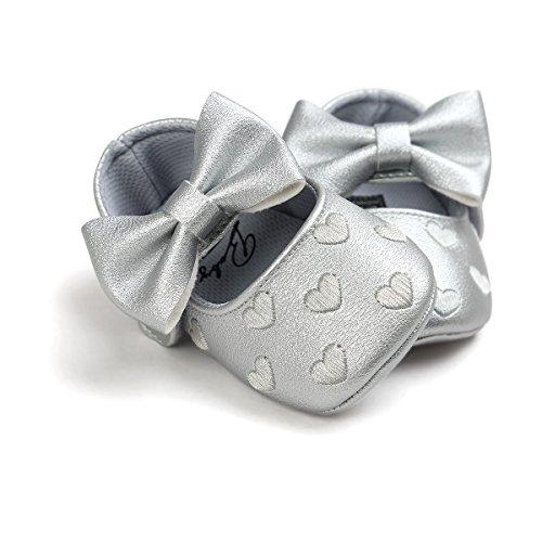 Auxma Baby schuhe mädchen Bowknot-lederner Schuh-Turnschuh Anti-Rutsch weiches Solekleinkind für 0-18 Monate (13(12-18M), Verde) Plata