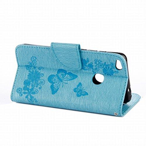 Custodia Huawei P8 Lite (2017) Cover Case, Ougger Fiore Farfalla Portafoglio PU Pelle Magnetico Stand Morbido Silicone Flip Bumper Protettivo Gomma Shell Borsa Custodie con Slot per Schede (Nero) Azzurro