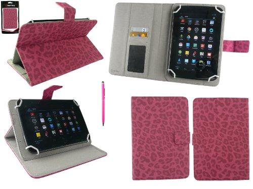 ppelfunktion Eingabestift+Universalbereich Faux Veloursleder Leopard Hot Rosa Folio Wallet Tasche Etui Hülle mit Kartensteckplätze Geeignet für Denver TAC-70111 7 Inch Tablet ()