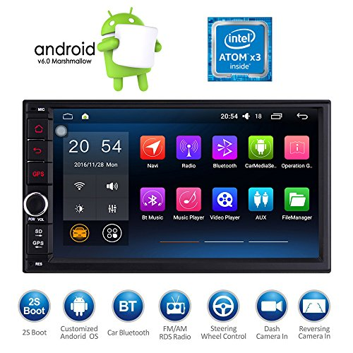 Masione 7 Zoll Android 6.0 Marshmallow OS GPS Navigation Auto Radio Bluetooth 2 DIN in Dash HD Touchscreen 1080P Auto Video Player FM / AM / RDS Radio Stereo Receiver Head Unit + Mirror Link WiFi