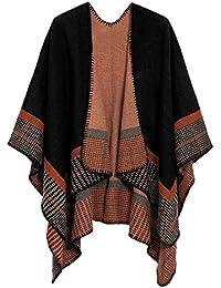 EXCHIC Chales y abrigos delanteros cálidos abiertos para mujer Chamarra elegante ponchos Cape Poncho