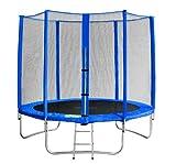 SixBros. SixJump 2,45 M Trampolino elastico da giardino blu - Scaletta - Rete di Sicurezza - Copertura anti-pioggia - TB245/1609