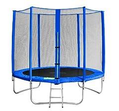 Idea Regalo - SixBros. SixJump 2,45 M Trampolino Elastico da Giardino Blu - Scaletta - Rete di Sicurezza - Copertura Anti-Pioggia - TB245/1609