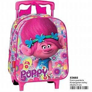 Perona 53602 – Mochila infantil con ruedas, Trolls Poppy Flowers 28cm