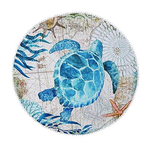LAOLIYDNB handtuch Rundes Strandtuch Mit Quasten Sonnenbaden Blaue Schildkröte Muster Kreis Handtuch Kissen Schal Picknick Yoga, D (Kissen Patrol Körper Paw)