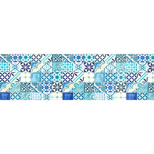 Il Gruppone Tappeto passatoia Made Italy Antiscivolo Lavabile Fantasia borbonese Blu Borbonese Blu 50x150