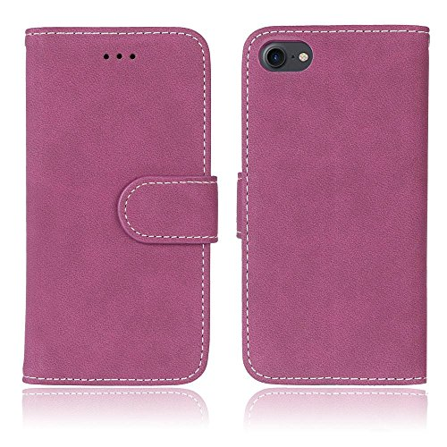 FUBAODA PU Cuir Folio iPhone 7 Case Coque Etui Étui Portefeuille Case Cover [Skin-friendly][Suède][Givré] Wallet avec Stand support Housse de Protection pour Apple iPhone 7 (Violet) Rose rouge