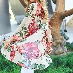 Womens Chiffon Flower Printed Smock Sunscreen Coat, Kanpola Ladies Long Tops Suit Bikini Swimwear Cover up Beach Swimsuit Cardigan by Kanpola