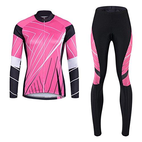 Brave Pioneer Damen Fahrradtrikot + Radhose Langarm Set Fahrrad Bekleidung Atmungsaktiv Bikeshirt Radshirt Cycling Sommer Herbst (pink, S)