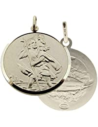 """Solid 925 Sterling Silver Mens Gents Double Sided 24mm Round St Christopher Medal Pendant With Optional 1.8mm Wide Diamond Cut Curb Chain In Gift Box (available in 16"""" to 40"""")"""