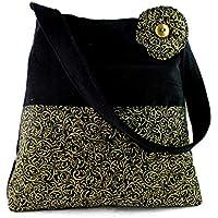 7c29580d40 Borsa a spalla Handmade in Italy - Velluto nero e batik artistico