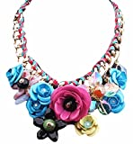 Colorful Fashion Flower Jewels Pendant Cord Necklace Shirt Decoration