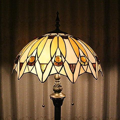 Tiffany 16 pouces de perles de style européen de Pastorale luxe élégant Creative main Stained Glass Tiffany Floor Lamp