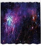 Abakuhaus Duschvorhang, Nebula Gas Wolke eine Dunkle Fantastische Vom Unendlichen Universum Sternen Cluster Violett Weiß, Wasser und Blickdicht aus Stoff mit 12 Ringen Schimmel Resistent, 175 X 200 cm