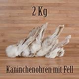 2 Kg ca. 160 Stück Kaninchenohren mit Fell fettarm BARF wie Schweineohren Rinderohren Kausnack Kauartikel