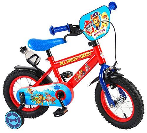 E&L Cycles Kinderfahrrad Paw Patrol 12 Zoll mit Rücktrittbremse, Stützrädern und Trinkflasche -