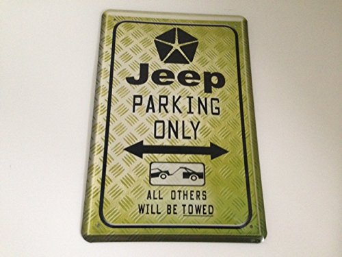 Jeep Parking Only - Targa in metallo 20 x 30 cm 4 x 4 Parcheggio Garage Carport 15