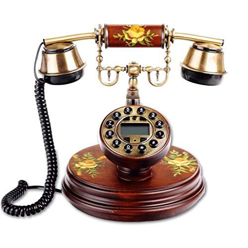 WXL Telefon europäischen Stil Antik Retro Holz Garten Anrufer ID Mode kreative Festnetz (Farbe : Braun, größe : L24CM*W20CM*H23CM)